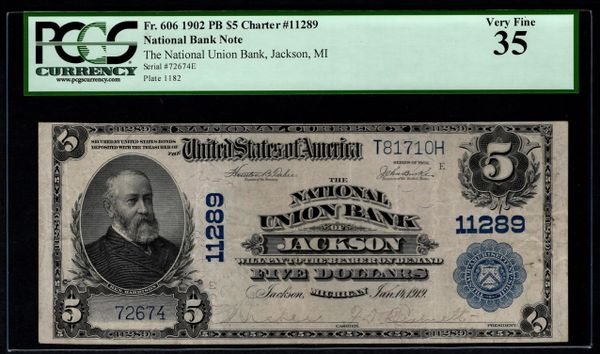 1902 $5 National Union Bank of Jackson Michigan PCGS 35 Fr.606 Charter CH#11289 Item #80612786