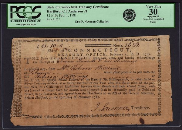 1781 Connecticut CT Colonial Obsolete Note PCGS 30 APPARENT Treasury Office EPN Eric P. Newman Collection Revolutionary War Item #80611223