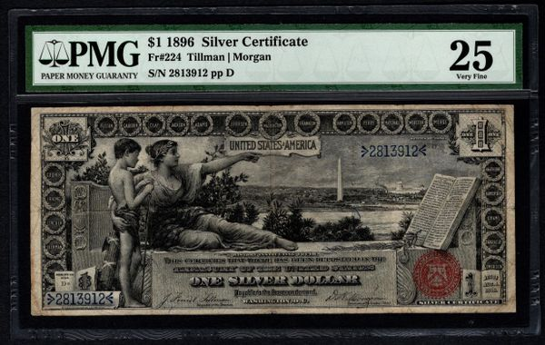 1896 $1 Silver Certificate Educational Note PMG 25 Fr.224 Item #5004658-012