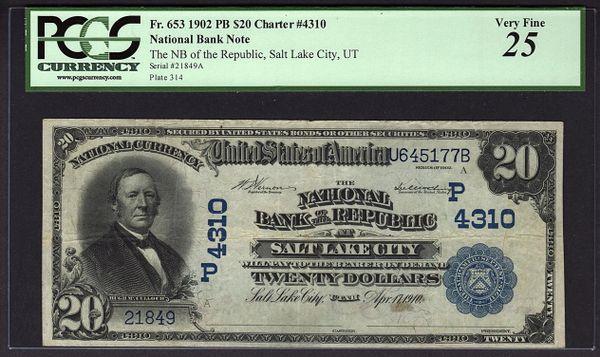 1902 $20 NB of the Republic Salt Lake City Utah PCGS 25 Fr.653 Charter CH#4310 Item #59039998