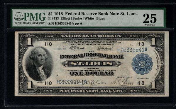 1918 $1 St. Louis FRBN PMG 25 Fr.733 Item #1035401-012
