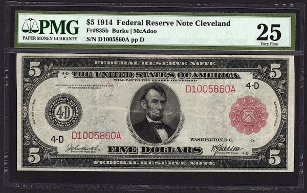 1914 $5 Red Seal Cleveland FRN PMG 25 VF Fr.835b Federal Reserve Note Item #5004532-018