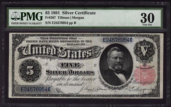 1891 $5 Silver Certificate PMG 30 Very Fine Fr.267 Item #8047268-006