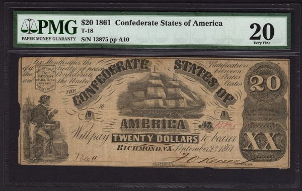 1861 $20 T-18 Confederate Currency PMG 20 VF Civil War Note Item #5011410-020