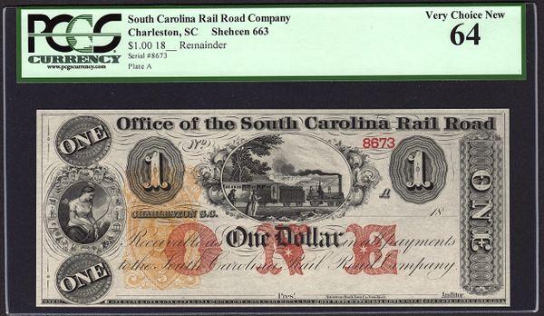 1800's $1 Office of the South Carolina Rail Road Charleston PCGS 64 with Train Scene Item #80772929