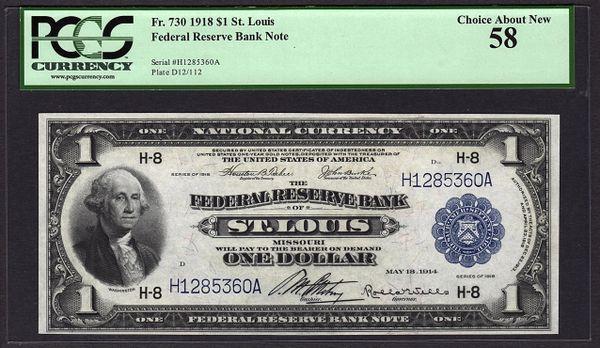1918 $1 St. Louis FRBN PCGS 58 Fr.730 Item #80603416