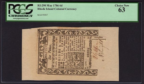 1786 Rhode Island Colonial Currency PCGS 63 RI-290 6d Six Pence Item #80617931