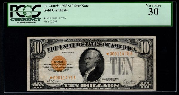 1928 $10 Star Gold Certificate PCGS 30 VF Fr.2400* Item #80786221