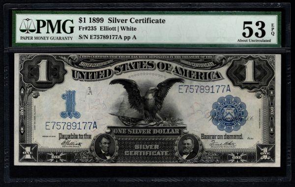 1899 $1 Silver Certificate Black Eagle PMG 53 EPQ Fr.235 Item #5012477-016
