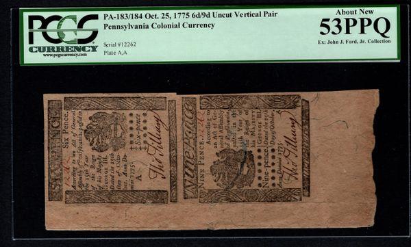 1775 Pennsylvania Colonial Currency Uncut Pair PCGS 53 PPQ PA-183/184 6d/9d Item #80534972
