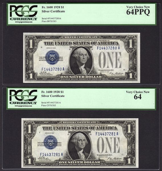 Lot of Two Consecutive 1928 $1 Silver Certificate Notes PCGS 64 Very Choice New Fr.1600 Item #80673465/66