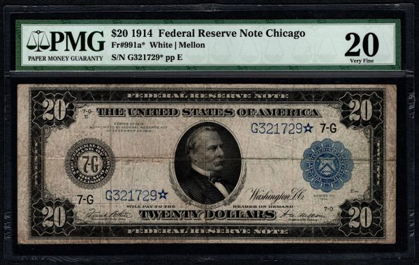 1914 $20 Chicago FRN Star Note PMG 20 Fr.991a* Item #2507814-004