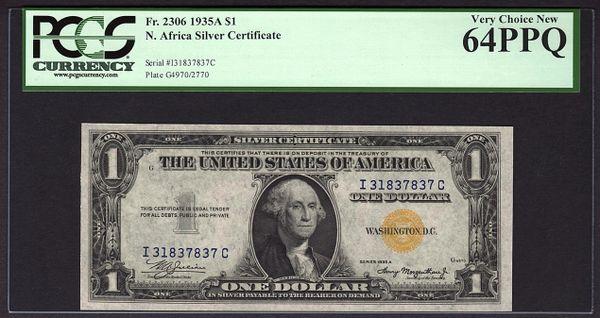1935A $1 N. Africa Silver Certificate PCGS 64 PPQ Fr.2306 Item #80778746