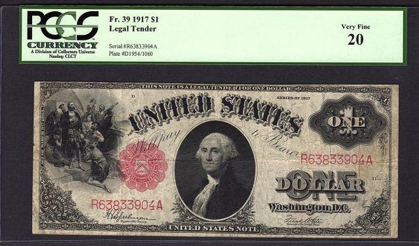 1917 $1 Legal Tender PCGS 20 VF Fr.39 United States Note Item #80203783