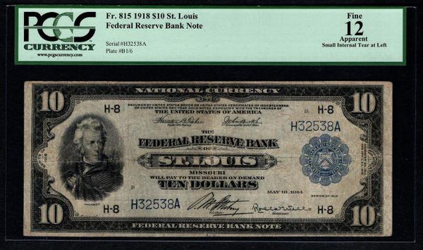 1918 $10 St. Louis FRBN PCGS 12 APPARENT Fr.815 Item #80529387
