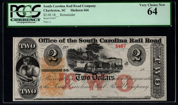 1800's $2 Office of the South Carolina Rail Road Charleston PCGS 64 with Train Scene Item #80786646