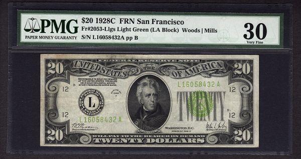 1928C $20 FRN San Francisco PMG 30 VF Fr.2053-L Series Key Note LGS Light Green Seal Item #1528718-007