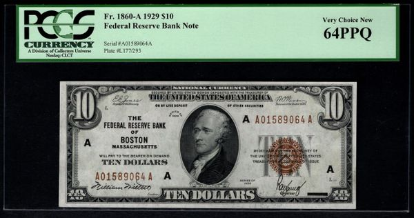 1929 $10 Boston FRBN PCGS 64 PPQ Fr.1860-A Item #80069692