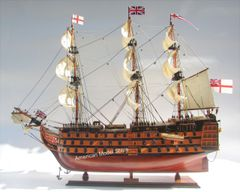 "HMS Victory Painted Wood Tall Ship Model 27"" British Royal Navy 1774"