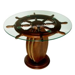 "Nautical Ship Wheel Coffee Table with Glass Top 28"" - MS1985007"