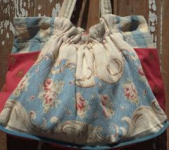 Charming Blue Bark cloth Sack Bag