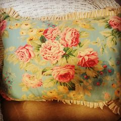 Shabby Pink & Blue Floral Pillow