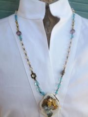 Glass Bead Necklace with White Turquoise Pendant