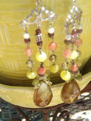 Precious Stone Chandelier Earrings