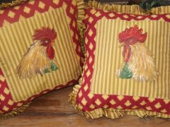 Country French Painted Rooster Pillow