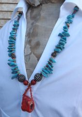 Turquoise with Coral Necklace