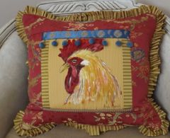 Country French Rooster Pillow in Coral/Gold/Blue