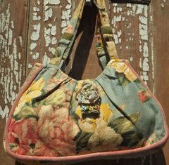Soft Blue floral pleated bag