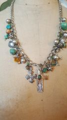 Charm Necklace with Silver cross Pendant