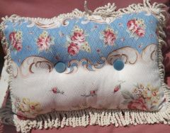 Pillow in Blue and White Vintage Barkcloth