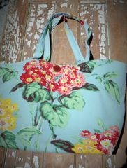 Barkcloth Floral Large Market Bag