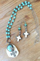 Necklace with earrings set in Turquoise, silver and white.