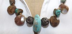 Turquoise and Brown Lingham Crystal Necklace