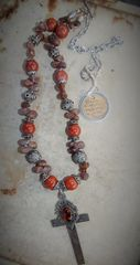 Argonite & Mookaite Stone Beaded Cross Necklace