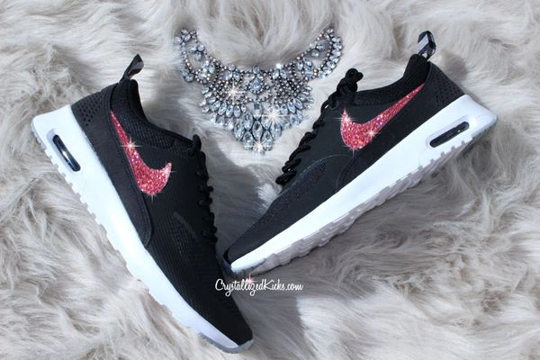 a8de42023345 Nike Air Max Thea Made with Swarovski® Crystals - Black White Rose AB  Crystals