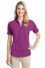 Port Authority® Ladies Stretch Pique Button-Front Shirt CNS