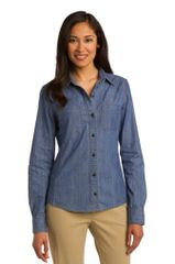 Port Authority® Ladies Patch Pockets Denim Shirt NPD