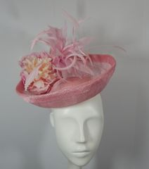 Pink Sinamay Saucer Style Hat with feathers and Flower