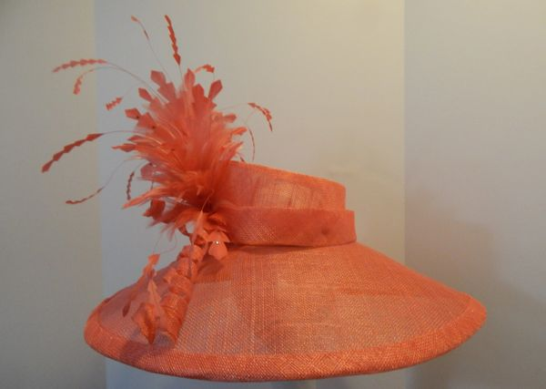 6541c3a6e87 Coral Big Brimmed SInamay Hat for the Kentucky Derby or Special Occasion