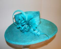 Turquoise SInamay Hat with sinamay Swirls and Feather Flower