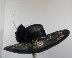 Black Sinamay and Embroidered Fabric Big Brim Kentucky Derby Hat