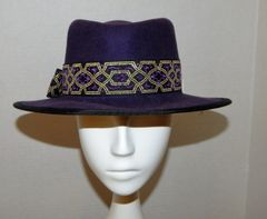 Purple wool felt fedora with purple and gold hatband