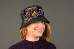 Beautiful Green Fur Felt Cloche with green and purple flowers