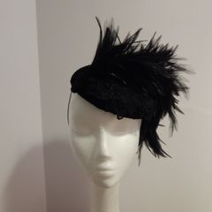 Black Velvet Pillbox with applique and feathers