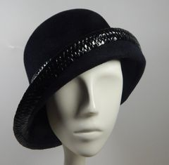 Black Fur Felt Cloche with Braid trim