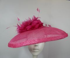 Hot Pink Sinamay Saucer with hand tooled flowers and feathers